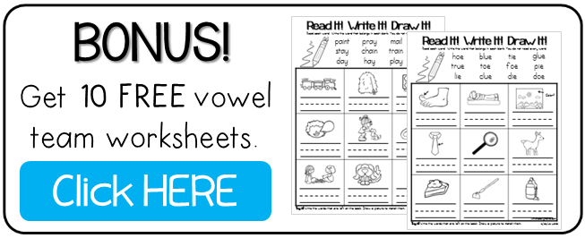 Vowel Team Phonics Worksheets - Color the Chunk - This ...