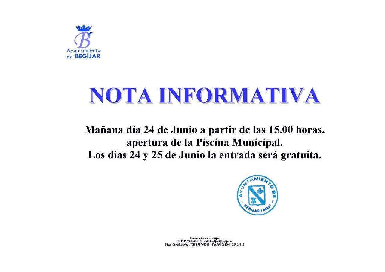 Nota Informativa Piscina Municipal