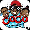 CoCo Launcher - Black Emoji, 3D Theme icon