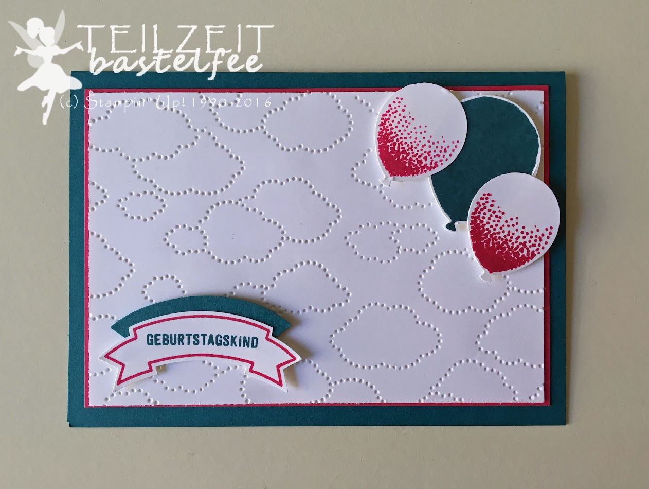 Stampin' Up! – In{k}spire_me #265, Sketch Challenge, Prägeform Wolkenmeer, Birthday, Geburtstag, Balloon Celebration, Party Ballons, Banner, Stanze Bannerduo, Stanze Luftballons, Punch Balloon Bouquet, Punch Duet Banner, Thoughtful Banners, Bannerweise Grüße