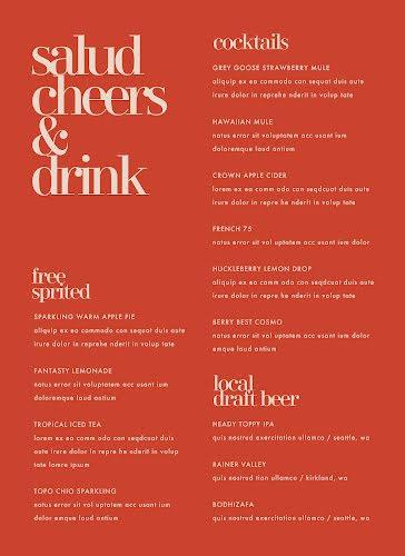 Free Spirited Drinks - Drinks Menu Template