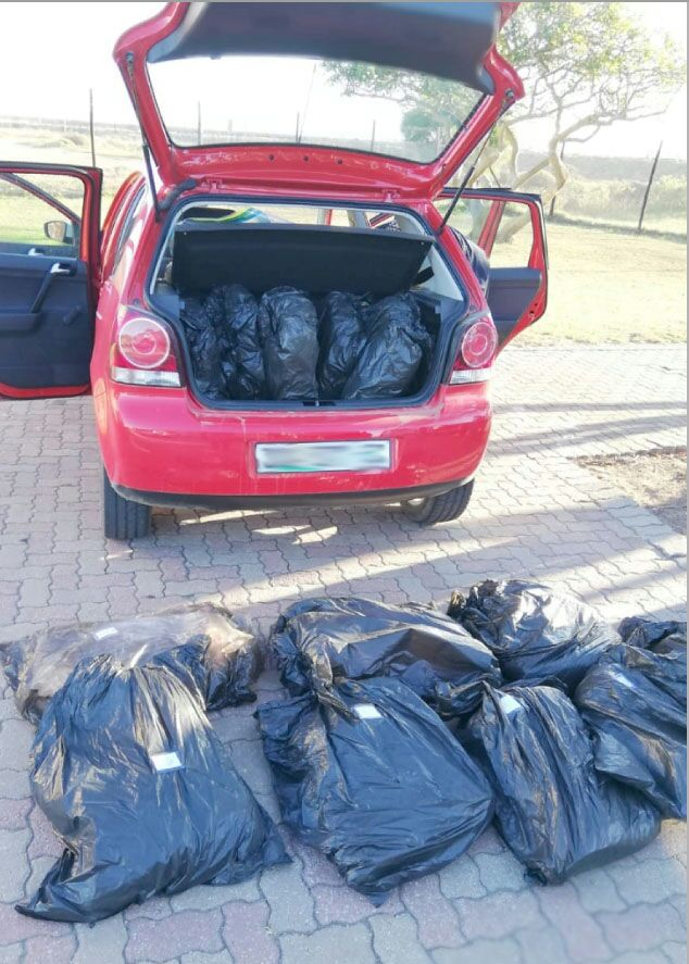 Two men were arrested with 23kg of dagga in the boot of their car.