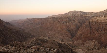 Photo: Wadi Dana at sunrise. We hiked down along the visible path at the bottom of the wadi.