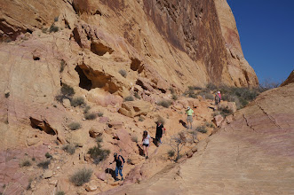 Photo: GSM members negotiating the start of White Domes Loop Trail.
