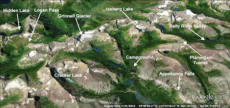 Photo: Here is an overview of the places we hiked to (and some that we didn't). Tuesday - Hidden Lake, Wednesday - Belly River Valley, Thursday - Iceberg/Ptarmigan, Friday - Appekunny Falls