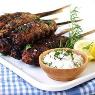 Recipe For Ground Lamb Kebabs With Tzatziki Sauce.