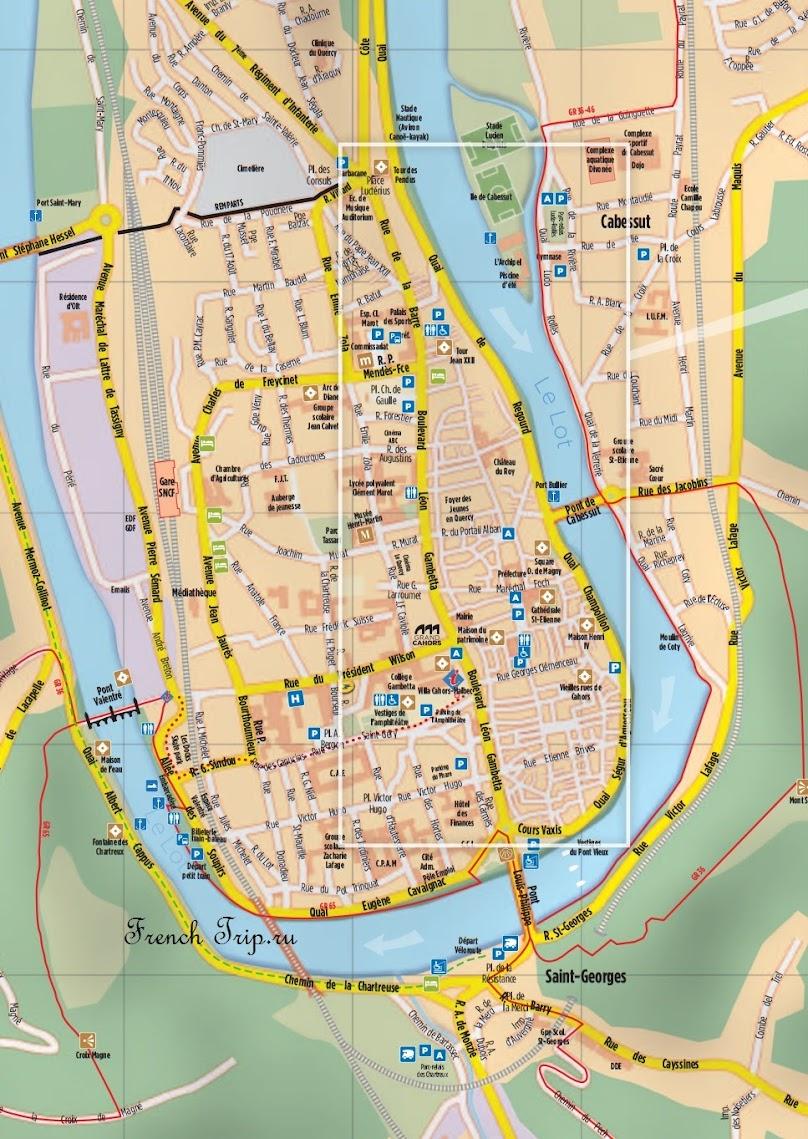 Парковки в Каоре / Cahors - Парковки на карте Каора: