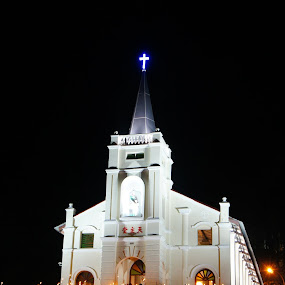 Church at night by Adam Ling - Buildings & Architecture Places of Worship ( candle, church, penang, worship, bukit mertajam )
