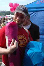 Photo: Greg trying to molest the tent.