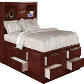Дизайн спальной кровати с хранением