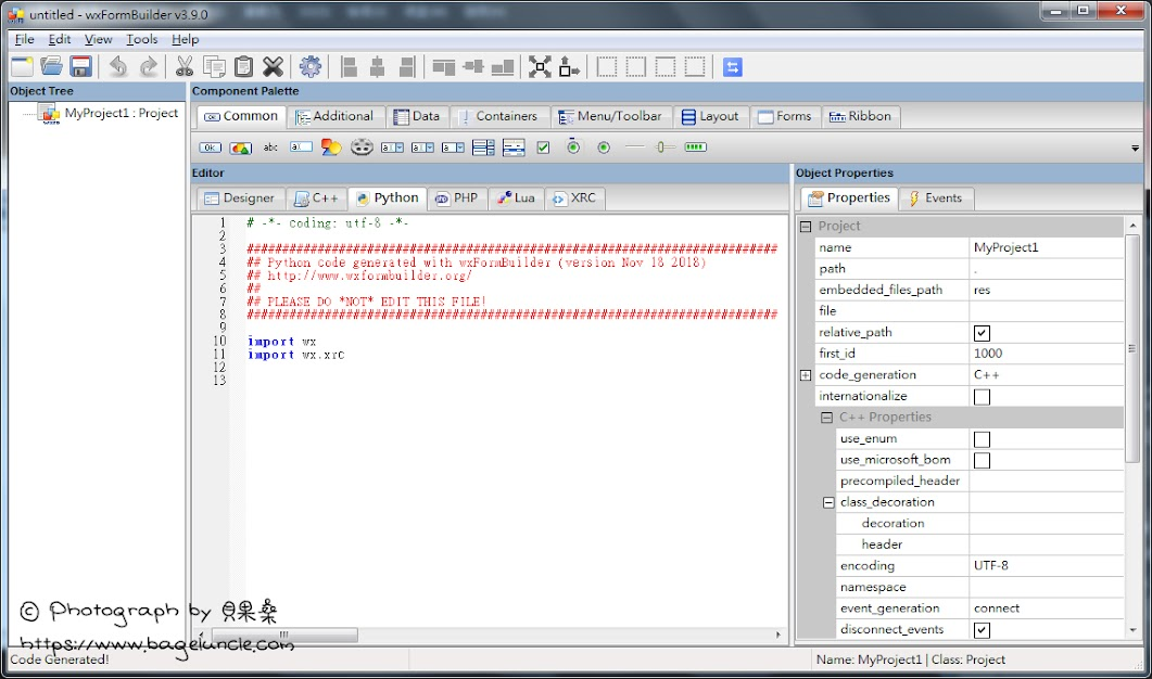 Python] 安裝wxFormBuilder 圖形化介面設計工具 