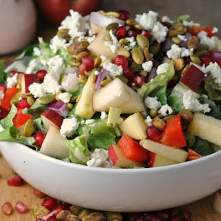 Pomegranate, Pear, and Pistachio Salad with Creamy Pomegranate Dressing Recipe