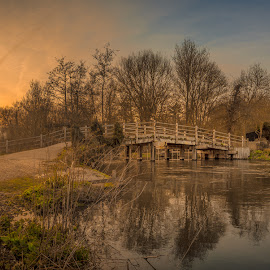 Flatford Bridge Sunset by Kevin Davis - Buildings & Architecture Other Exteriors ( reflection, sunset, cottage, bridge, thatched cottage, river )