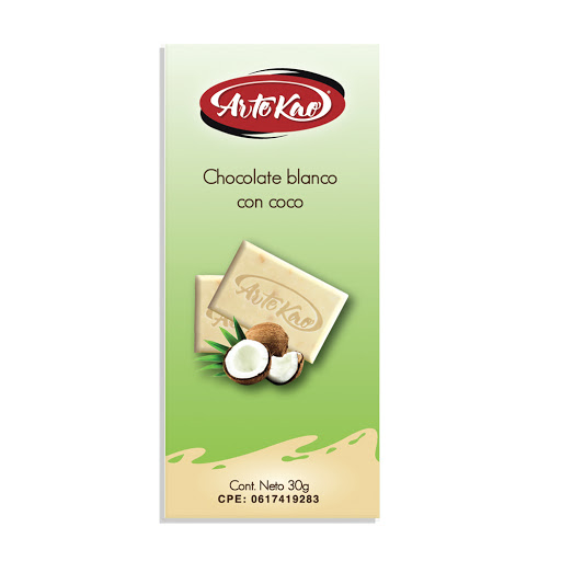 chocolate artekao blanco con coco 30gr