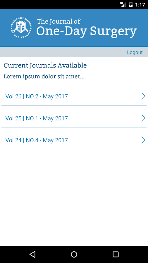 BADS - Journal of One-Day Surgery- screenshot