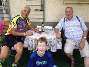Photo: A post workout refreshment with my German father Dieter… Photo bombed by Riley