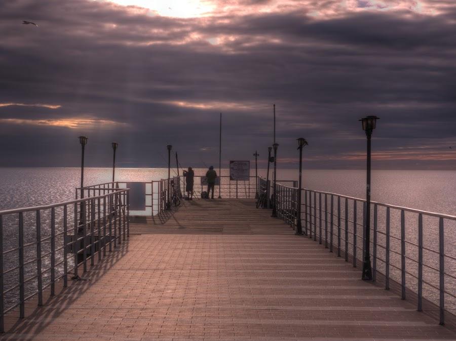 Sunny Beach Pier by Craig Hutton - Landscapes Sunsets & Sunrises ( water, black sea, sky, cloud, pier, sunrise, sunny beach, bulgaria )