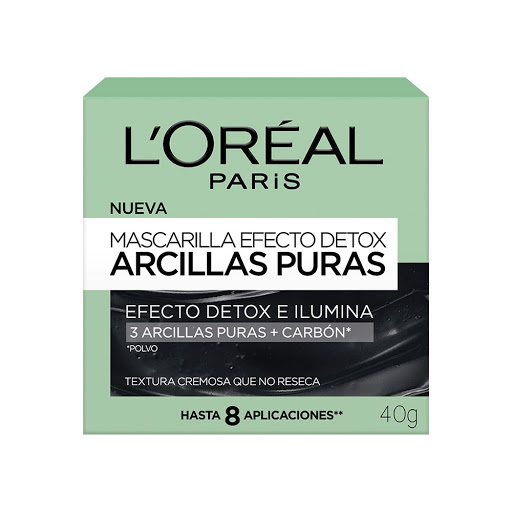 mascarilla faciall'orealskin detox 40 g 8 aplicaciones 3 arcillas puras+carbón