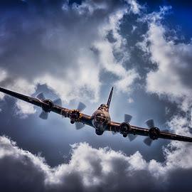 Sally B 2 -  B-17 Flying Fortress by Kelly Murdoch - Transportation Airplanes ( clouds, flight, flying, sky, plane, sally b, aircraft, b-17 flying fortress, display, airshow )