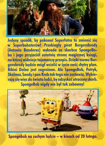 Tył ulotki filmu 'SpongeBob: Na Suchym Lądzie'