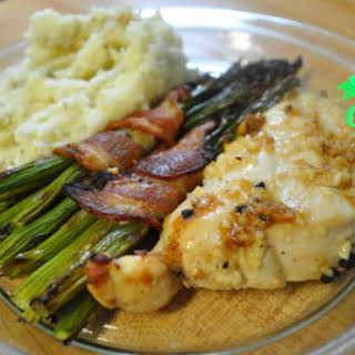 Lemon Garlic Chicken with Simple Mashed Potatoes and Bacon-Wrapped Asparagus [Intro to Cooking].