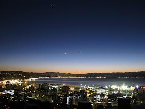Photo: Jupiter, Mars, Moon, Venus and Mercury (low on the horizon between Petone and Somes Island), 6:43am 31 May 2011