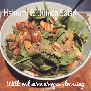 Haloumi and Quinoa Salad with Red Wine Vinegar Dressing