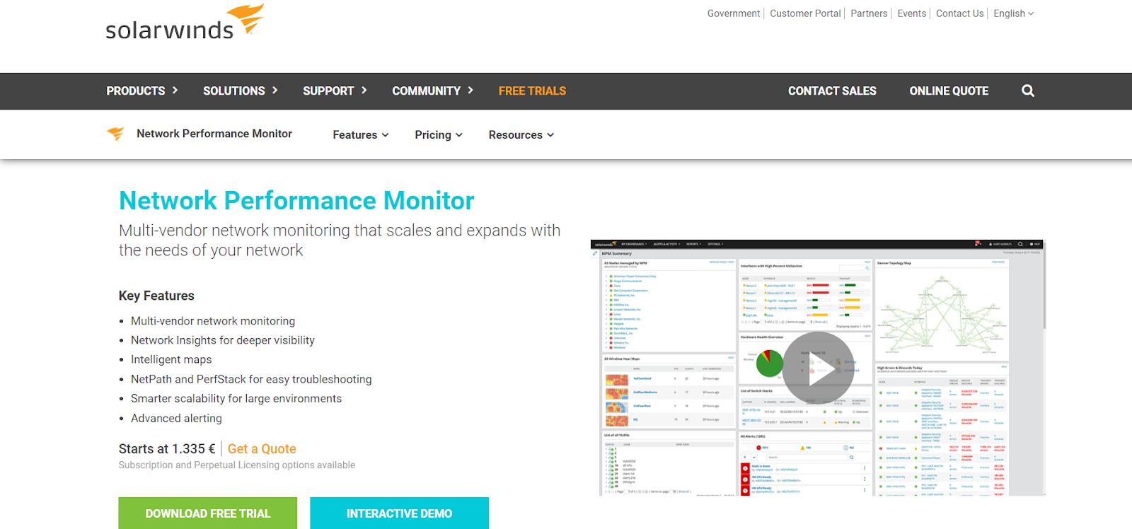 LAN Monitoring Tools - SolarWinds Network Performance Monitor