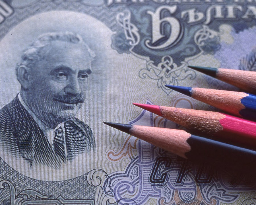 Banknote & Colored Pencils by Craig West - Artistic Objects Other Objects ( banknote, tabletop, pencils, currency,  )