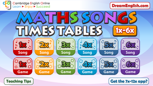 Maths Songs Times Tables 1~6x