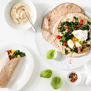 Egg, Kale, and Tomato Breakfast Wraps with Hummus