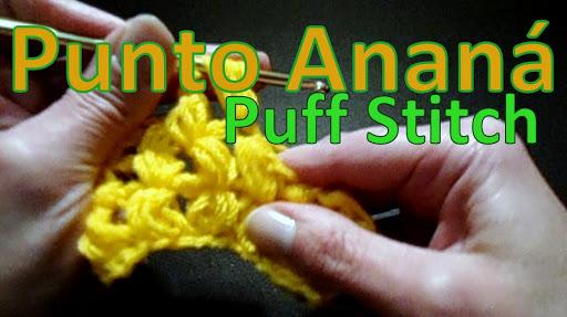 punto ananá o puff stitch directo tejido al crochet ganchillo para zurdos