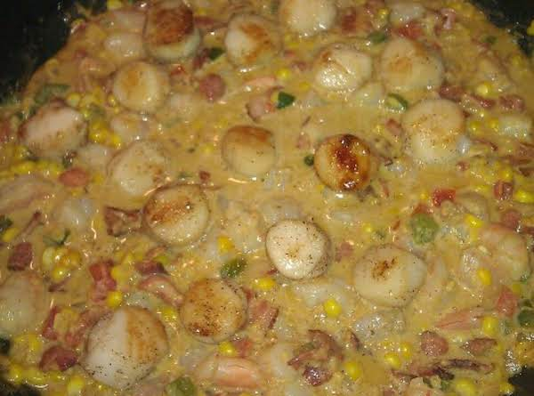Scallops And Shrimp With Creamy Bacon Corn Sauce