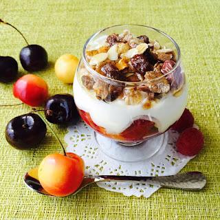 Cherry And Raspberry Breakfast Sundae.