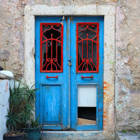 Blue door by Miho Kulušić - Buildings & Architecture Architectural Detail ( red, door, blue, old, old buildings,  )