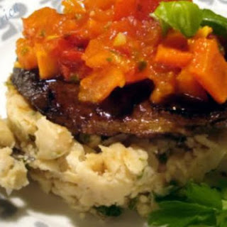 Balsamic Steak With White Bean Mash and Salsa.