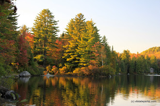 Photo: Foliage reflections in the pond at Ricker Pond State Park by Lene Gary