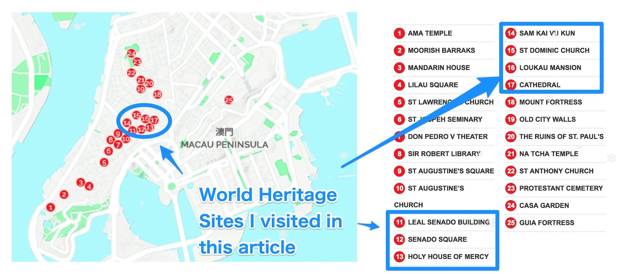 Macau World Heritage map