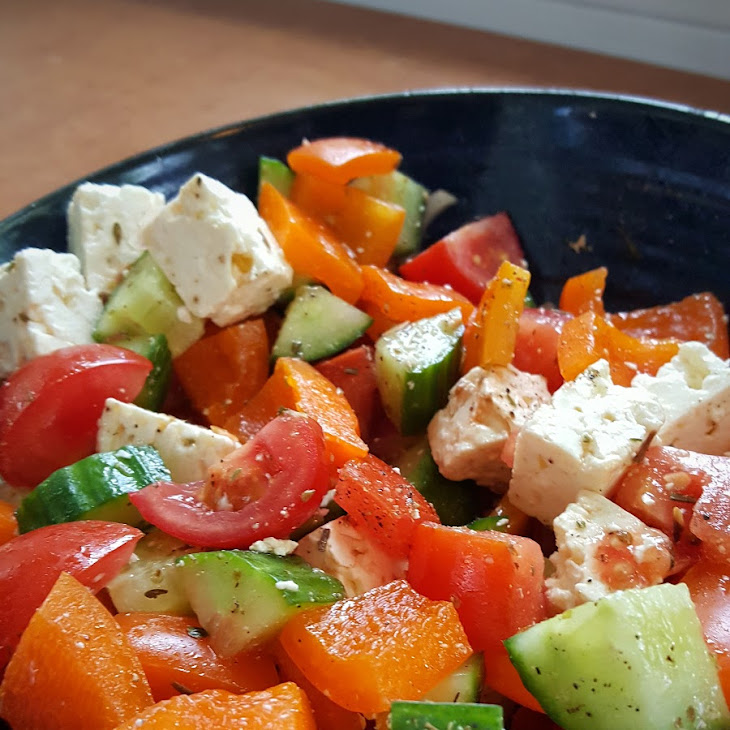 Greek Style Salad with Feta Cheese Recipe