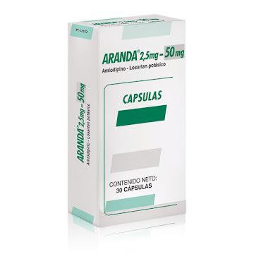 ARANDA 2.5MG/50MG   CAPSULAS CAJAX30 CAPS FARMA LOSARTAN AMLODIPINO