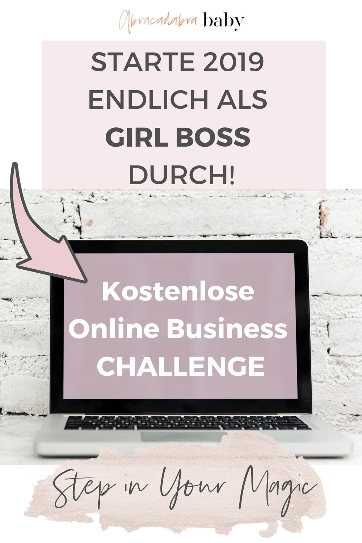 Starte Dein eigenes Online Business mit der kostenlosen Girl Boss Challenge und lerne in 6 Tagen, wie Du den Schritt in die Selbstständigkeit wagen kannst.