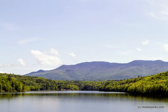 Photo: Calm water, beautiful mountains at Waterbury Center State Park by Karalyn Mark