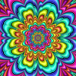 Flower 56 by Cassy 67 - Illustration Abstract & Patterns ( digital, love, harmony, trippy, abstract, creative, flower, psychedelic, light, fractal, style, colorful, energy )