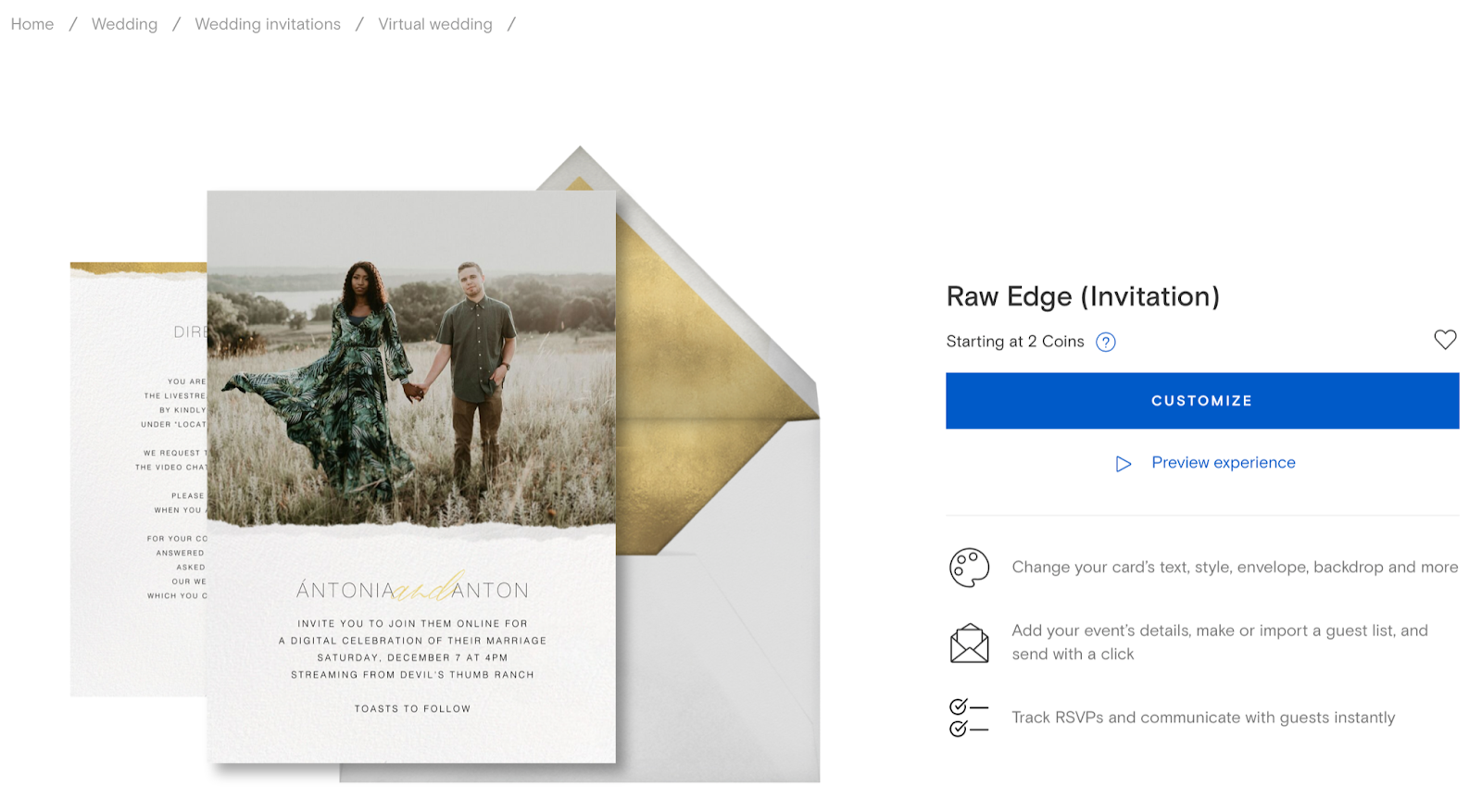 Example of digital invitation from Paperless Post
