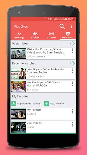 PlayOver for Youtube : play tube and music radio 1.0.5 screenshots 4