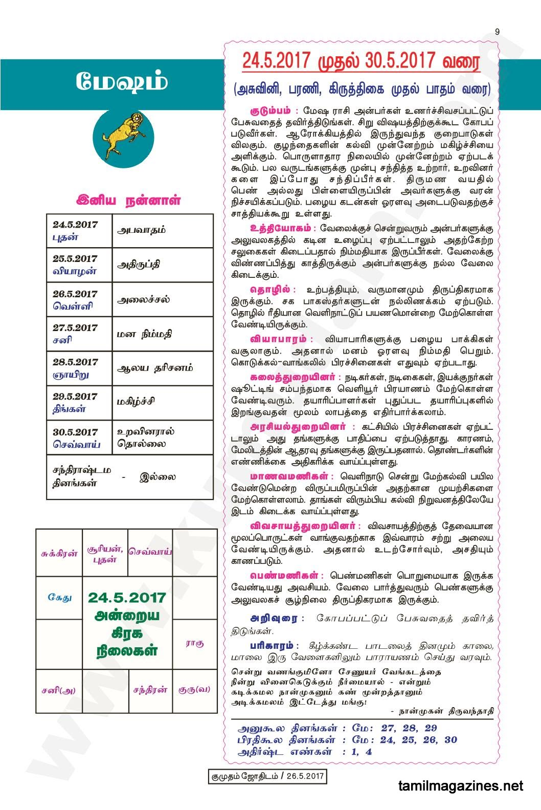 Kumudam Jothidam Raasi Palan May 24 to May 30, 2017