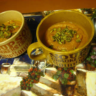 Roasted Butternut Squash, Carrot & Yam Soup (Dairy-free, gluten-free, vegan).
