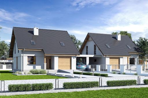 projekt Biała z garażem i wiatą bliźniak A1-BL