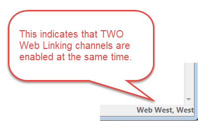 status bar indicates whether multiple Web Linking channels are enabled