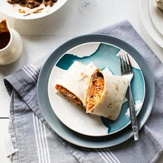 Beef burritos with Mexican rice.